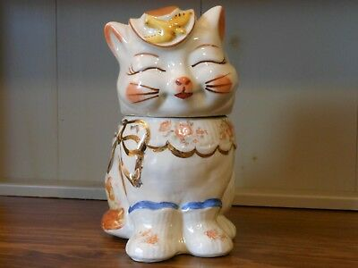 Vintage Shawnee Puss n' Boots Cookie Jar w Gold Trim and Flowers USA