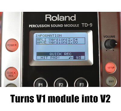 Roland TD-9 V2.0 update firmware upgrade file & instructions 99 kits!! Easy! 99p
