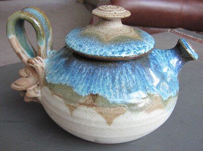 Hand Thrown Art Pottery Lidded Teapot with Handle Blues Greens - Signed Machulie