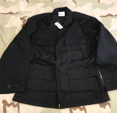 Us Army Bdu Shirt Combat Coat Black 357 Poplin Wind Resistant Small Sh