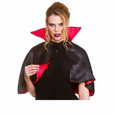 Adult DELUXE MINI RED CAPE Halloween High Collar Satin Vampire Devil Book Week