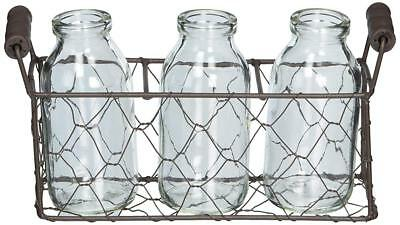 Blossom Bucket Glass Collection Small Rectangle Metal Basket 3 Glass Bottles Set