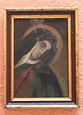 Antique MATER DOLOROSO Sorrowful Mother Mexican Copper Painting Retablo Mexico