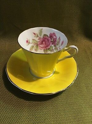 Adderley Pink Rose Yellow Tea Cup And Saucer Vintage