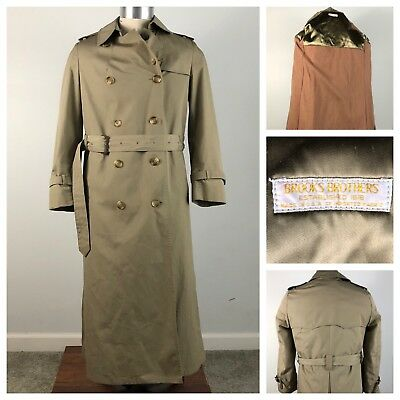Brooks Brothers Mens Overcoat Sz 36S Trench Beige Blanket Lining