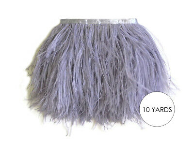 10 Yards - Silver Gray Ostrich Fringe Trim Wholesale Feather Halloween Dress
