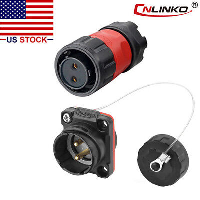 CNLINKO 2 Pin Power Connector Female Plug & Male Socket Waterproof Outdoor IP67