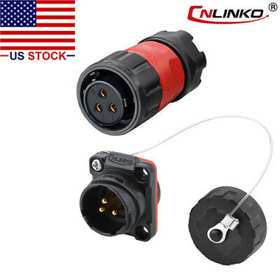 3 Pin Power Circular Connector Female Plug & Male Socket Outdoor Waterproof IP67