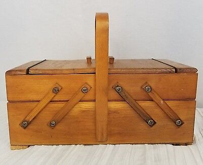 Vintage STROMMEN BRUK HAMAR NORWAY Wooden Fold Out Sewing Box Jewelry Chest