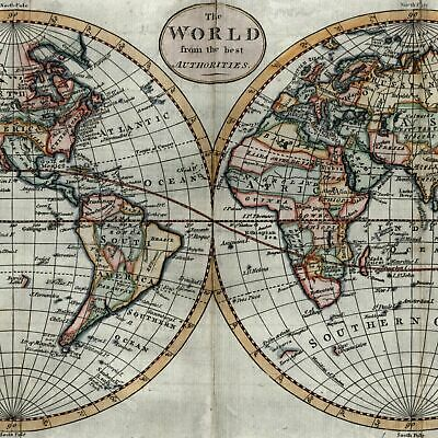 World in double hemispheres River of West bizarre Alaska c.1792 Kitchin old map