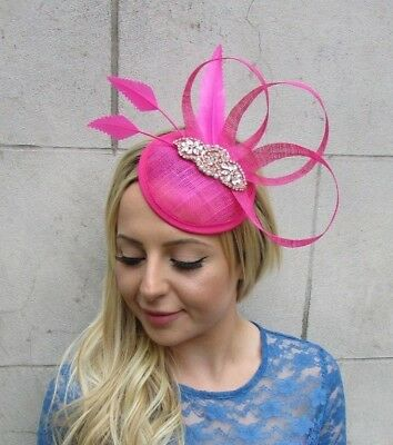 a12fd9eb66fef Hot Pink Rose Gold Feather Pillbox Hat Fascinator Races Hair Clip Wedding  6317