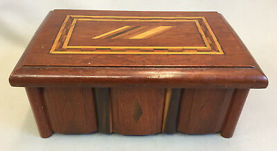 Vintage/Antique Wood Marquetry Folk Art Box With Diamond Design