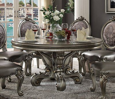 Versailles 5 Piece Round Dining Table Set in Antique Platinum by Acme - 66840