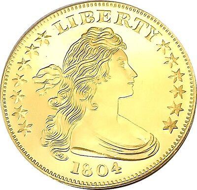 Bust Silver Dollar Liberty , 24k Gold Gilded  1oz .999 pure Silver Coin F