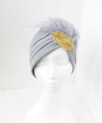 Grey Gold Beaded Feather Turban Headpiece Fascinator 1920s Flapper Gatsby 6322