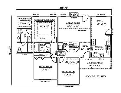 House Plans for 1300 Sq. Ft. 3 Bedroom House