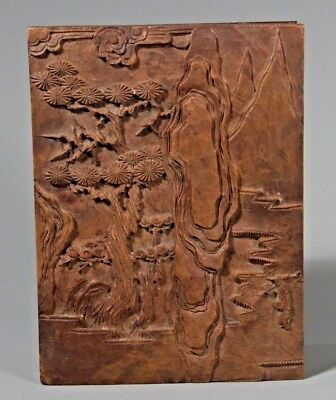 China Chinese Carved Wood Box w/ Fine landscape & Figural Decor ca. 20th century
