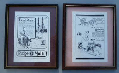 2 framed repro advertisements, RUDGE MULTI and ROYAL ENFIELD motorcycles (1925)