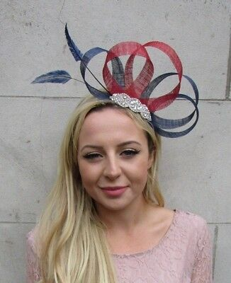 Navy Blue Red Silver Feather Fascinator Sinamay Hair Races Wedding Diamante 6329