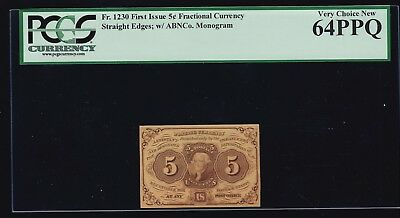 """US 5c 1st Issue Fractional Currency w/ """"ABC"""" FR 1230 PCGS 64 PPQ V Ch CU (-001)"""