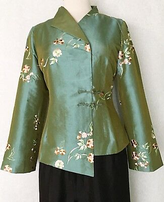 Asian Women Ladies Office Wear Jacket Silk with Embroidered Flower