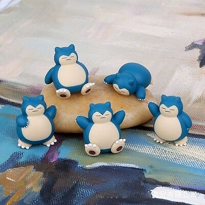 5PCS 4CM Anime Pokemon Go Snorlax Figure Toys Collection PVC Dolls Decor Props