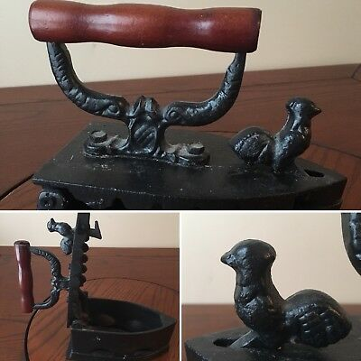 Vintage Cast Iron Coal Sad Boy Clothes Press Iron With Rooster Latch