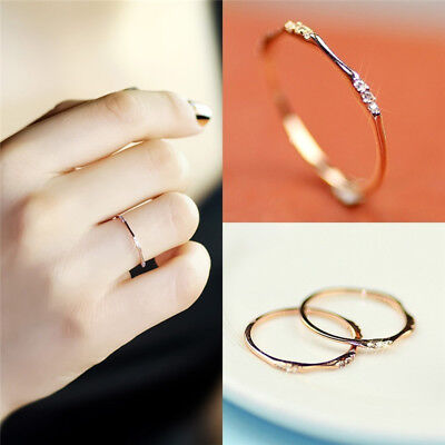 Temperament Fashion Womens Rings Circle Small Simulate Crystal Midi Ring B