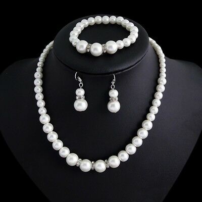 Wedding Bridal Simulated Pearl Silver Cz Crystal Necklace Earrings Bracelet Set