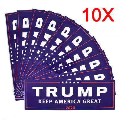 10x Donald Trump for President 2020 Keep America Great Again Blue Bumper Sticker