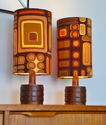 Mid Century Danish Eames Teak 'KLODS' Table Lamps with new bespoke shades PAIR