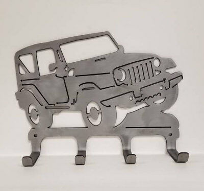 Rock Climbing Jeep * Clear Coated Metal Wall Hanger to Hold Your Backpack, Hats!