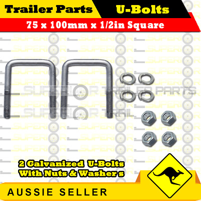 2 x U-Bolts 75mm x 100mm Square with Nuts Galvanized Trailer Box Boat Caravan