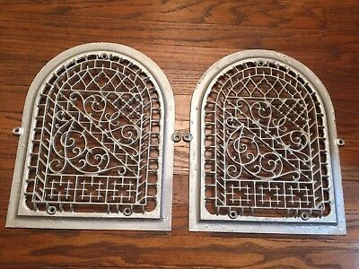 Pair Of Antique Ornate Arch Dome Cast Iron Vent Grates