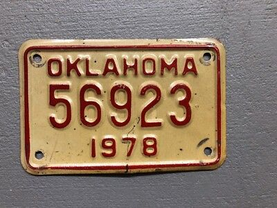 1978 Oklahoma Motorcycle License Plate  56923