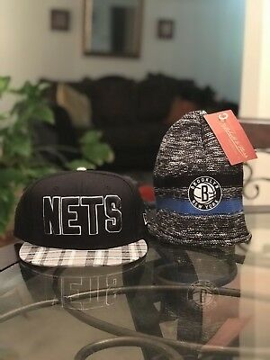38e1bbae5f8 NWT NBA New Era brooklyn nets snapback hat Cap   Beanie Mitchell Ness Free  📦
