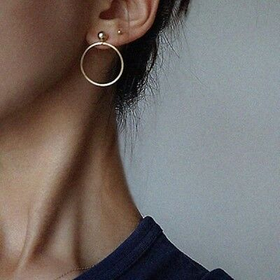 Fashion Women Gold Silver Plated Big Circle Smooth Large Ring Hoop Earrings Chic