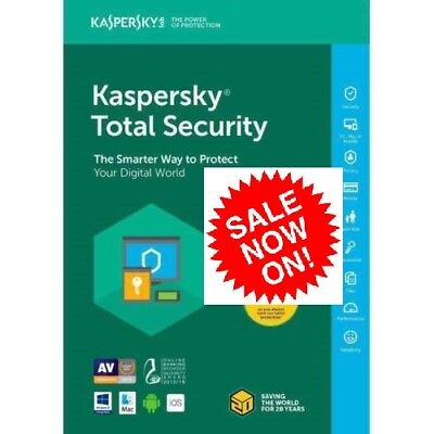 Kaspersky Total Security Antivirus  2018 1 PC 1 DEVICE USER 1YEAR PC MAC ANDROID