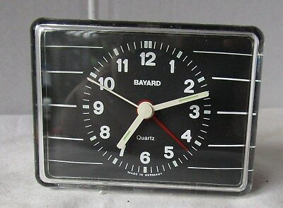 Little Neat Black and White Plastic Battery Alarm Clock from BAYARD