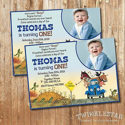 Little blue truck birthday party pack invitation banner cupcake little blue truck birthday invitation personalized digital printable file filmwisefo