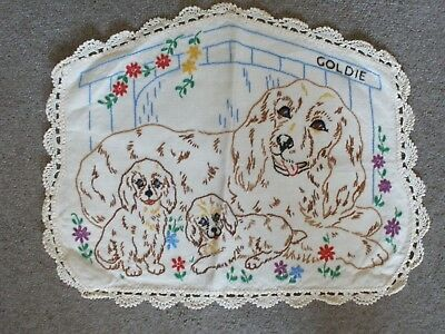 Goldie And Her Pups Vintage Hand Embroidered Ecru Linen Centrepiece -Perfect