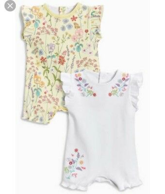 ⭐️new⭐️ Bnwt Next Baby Girl Floral Rompers Bodysuit Newborn 0-3 Months
