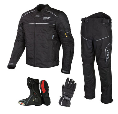 Black Motorbike Motorcycle Waterproof Jacket Trouser Glove Leather Boot Suit Set