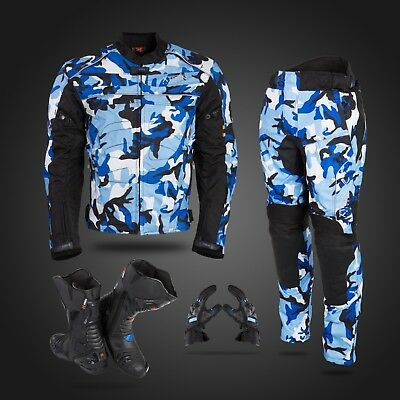 Camo Blue Motorbike Motorcycle Waterproof Jacket Trouser Shoes Leather Boots New