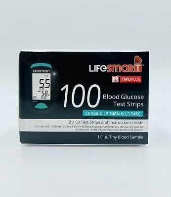 New LifeSmart 2TwoPlus Blood Glucose Test Strips (For LS-946) 100