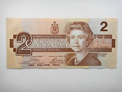 CANADA   1986  $2   DOLLAR  OLD  PAPER  BANKNOTES  VF+  Condition