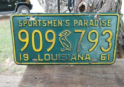 Vintage 1961 Louisiana Sportsmen's Paradise License Plate# 909 Pelican 793