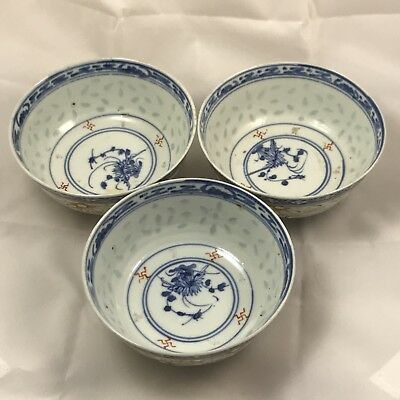 Three Antique Chinese Hand Painted Porcelain Bowls