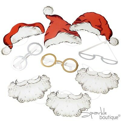 SANTA PHOTOBOOTH PROPS-For 6 People-Father Christmas Dress Up-Xmas Photo Selfies
