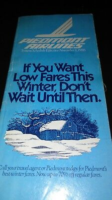 Piedmont Airlines Timetable Effective November 1986 AUTHENTIC